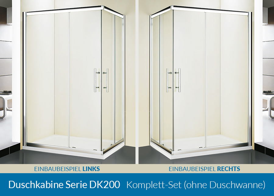 duschkabine serie dk200 esg glas 80x80 90x90 80x100. Black Bedroom Furniture Sets. Home Design Ideas
