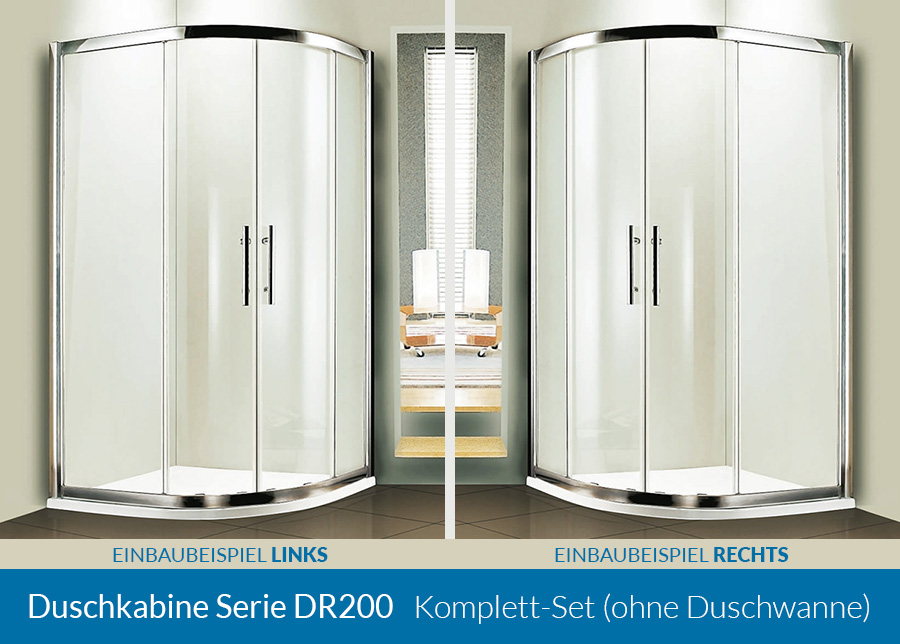 duschkabine serie dr200 esg glas viertelkreis 80x80 90x90. Black Bedroom Furniture Sets. Home Design Ideas